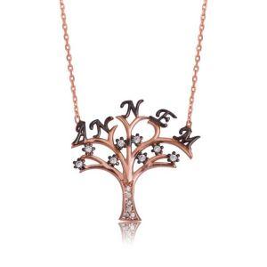 Gümüş Annem Yazılı Hayat Ağacı Bayan Kolye