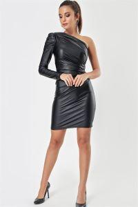 Asimetrik Yaka Kol Büzgülü Deri Elbise Siyah
