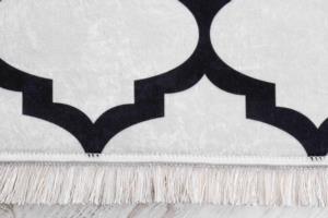 Seven Home Dekoratif Kaymaz Dokuma Tabanlı Halı 57- D293 Beyaz