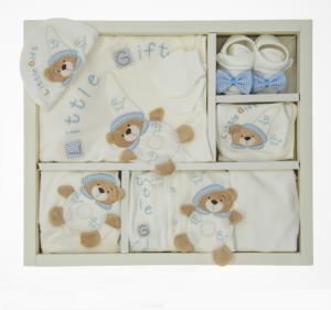 Little Gift Ayıcıklı Mavi-Ekru 10 Parça Hastene Çıkış Seti- 911-1