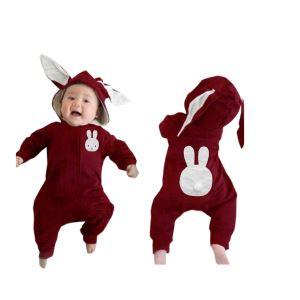 Yeni Model BordoTavşan Kulaklı Ponponlu Bebek Tulum