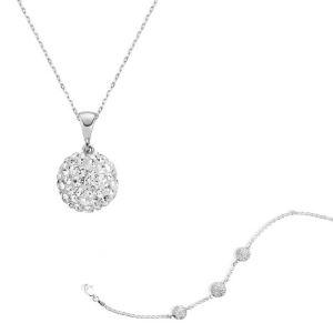 Gümüş Beyaz Kristal Taşlı Top Bayan Set