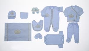 Little Gift Dantelli İncili Prenses Mavi 10 Parça Hastene Çıkış Seti- 503-2