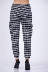 Darkline Kadın Siyah Kareli Kargo Pantolon