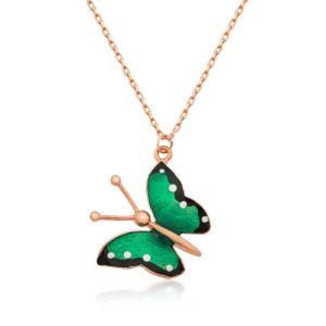 Gümüş Yeşil Kelebek Bayan Kolye