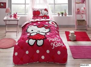 Taç 8266 Lisanslı Tek Kişilik Yorgan Seti Hello Kitty