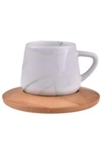 Bambum Ebru 6 Kişilik Kahve Fincan Takımı Yeşil B0929
