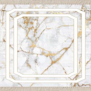 Meg Cloud Beyaz Zemin Mermer Desenli Kaymaz Taban Salon Halısı MEG174