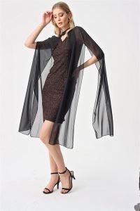 Askılı Simli Şifon Pelerinli Abiye Elbise Bronz