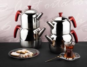 Tantitoni Kırmızı Athena Büyük Boy Paslanmaz Çelik Çaydanlık Takımı- CHAI 3CYDBK