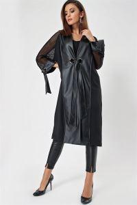 Kolları Fileli Deri Detaylı Kuşaklı Ceket Siyah