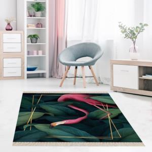 Meg Cloud Yeşil Yaprak Flamingo Gold Dijital Halı MEG236