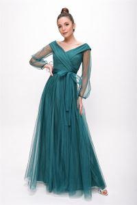 Bağcıklı Balon Kol Tül Uzun Abiye Elbise Yeşil