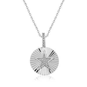 Gümüş Fırfırlı Yıldız Bayan Kolye