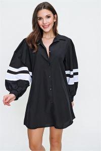Kolu Şeritli Oversize Gömlek Siyah