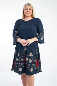 İspanyol Kol Çiçek Desenli Örme Krep Büyük Beden Elbise Lacivert