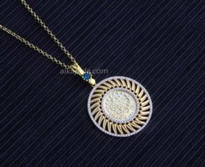 Gümüş İşlemeli Yuvarlak Tuğralı Plaka Kolye PLK02-GOLD