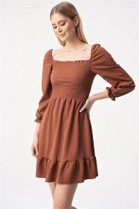 Önü Büzgülü Gipeli Volanlı Elbise Kiremit