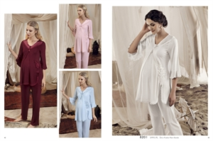 Artış Collection 8201 Bayan Lohusa Motifli Pijama Takımı Ekru