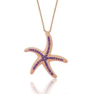 Gümüş Mor Deniz Yıldızı Bayan Kolye