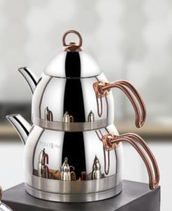 Polo Chef Zümrüt Orta Boy Bakır Saplı Çaydanlık Takımı ZCÇ-102