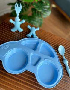 Bayev 3 Parça Çocuk Yemek Seti - Araba Model Mavi