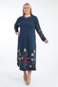 Kırçıllı Çiçekli Örme Krep Büyük Beden Likra Elbise Lacivert
