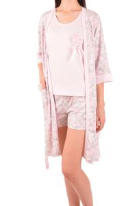 Nicoletta Kadın Şortlu Pijama Takım Sabahlık Üçlü Pamuk
