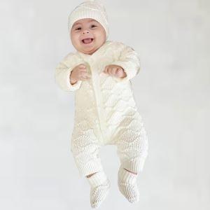 Krem Bebek Triko Patikli Tulum Takım
