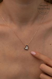 Swarovski Taşlı Kalp Model Rose Kaplama Gümüş Kolye