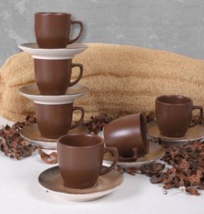 Keramika Kahverengi Taş Kahve Takımı 12 Parça 6 Kişilik - 18412