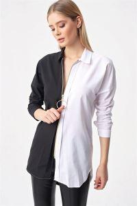 Çift Renkli Boydan Fermuarlı Tunik Gömlek Siyah
