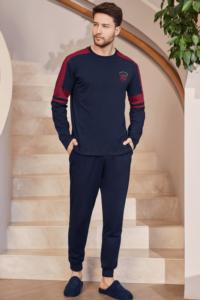 Mecit Erkek Uzun Kol Lacivert Pijama Takımı 2752