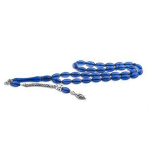 Gümüş Püsküllü Mavi Toz Kehribar Tesbih