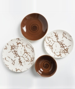 Acar 24 Parça Dream Kahve Porselen Yemek Takımı