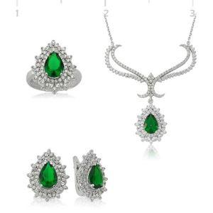 Gümüş Yeşil Taşlı Bayan Set  ST2610025
