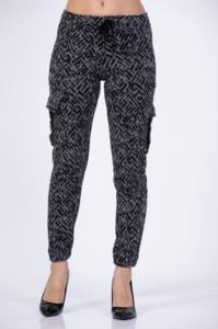 Darkline Kadın Gri Çavuş Desenli Kargo Pantolon XL