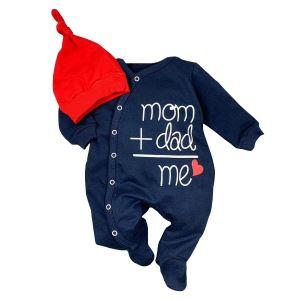 Laci Şapkalı Mom Dad Me Baskılı Bebek Tulum