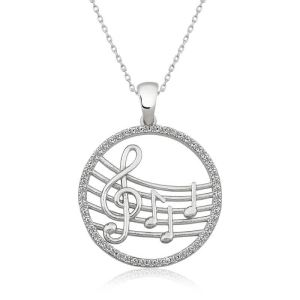 Gümüş Müzik Temalı Bayan Kolye