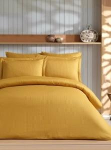 Soley Çift Kişilik Çizgili Saten Nevresim Takımı Elegante Yastık Hediyeli - Hardal