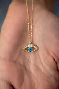 Göz Model Altın Kaplama Gümüş Kolye