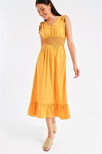 Beli Lastikli Alt Fırfırlı Boncuklu Elbise Sarı