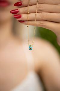 Mavi Nazarlık Model Altın Kaplama Toplu Zincir Gümüş Kolye