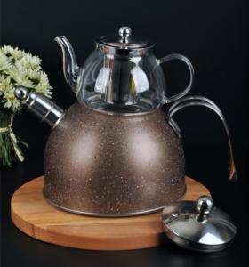 Bayev Granit Düdüklü Cam Çaydanlık- 200601- Kahve