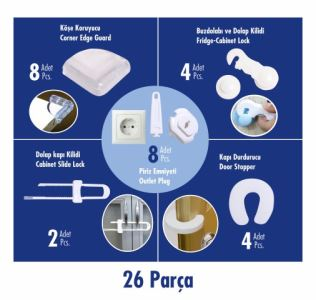Sevi Bebe Güvenlik Seti- (4 Kapı Stoperi-4 Dolap Kilidi-2 Çekmece Kilidi-6 Priz Emniyeti-8 Köşe Koruyucu)