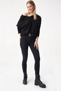 Yüksel Bel Cepli  Yıkamalı Likra Pantolon Siyah
