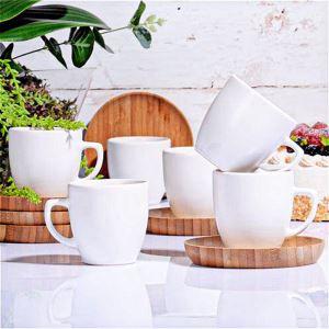 Kitchen World Parlak 62 Bambu Tabaklı Seramik Kahve Fincan Takımı Beyaz