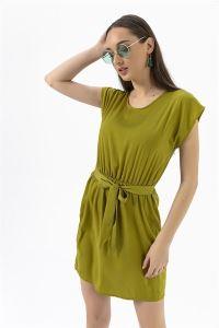 Beli Lastikli Kuşaklı Elbise Yeşil
