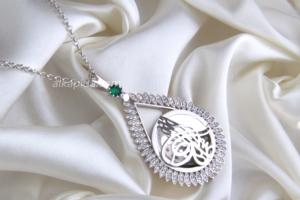 Gümüş İşlemeli Damla Tuğralı Plaka Kolye PLK02-SİLVER