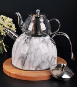 Bayev Mermer Düdüklü Cam Çaydanlık-200602- Beyaz